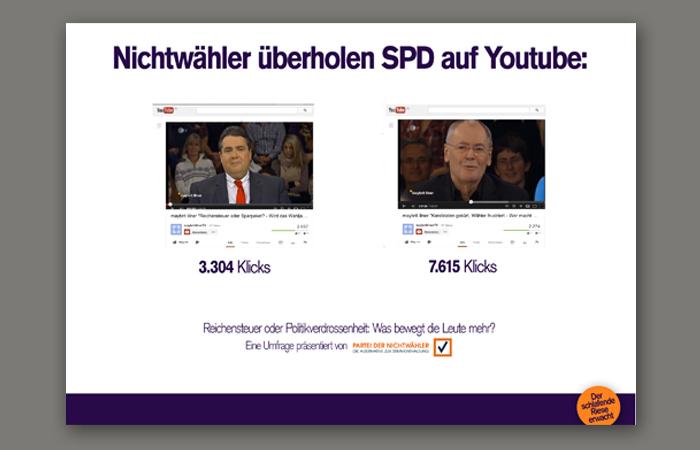 Partei der Nichtwähler Wahlwerbung Werbe Case–Motiv: Nichtwähler überholen SPD